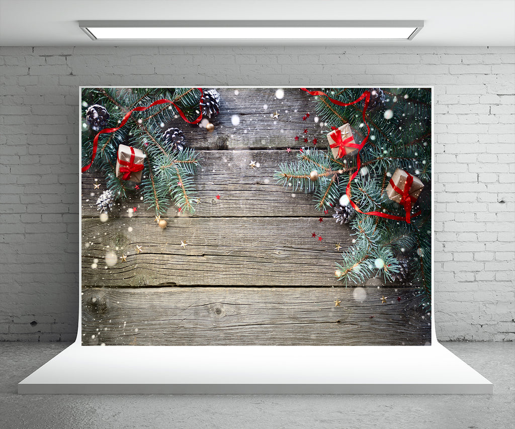 Chrisrtmas Gift Wood Wall Photography Backdrop Pine Board Background
