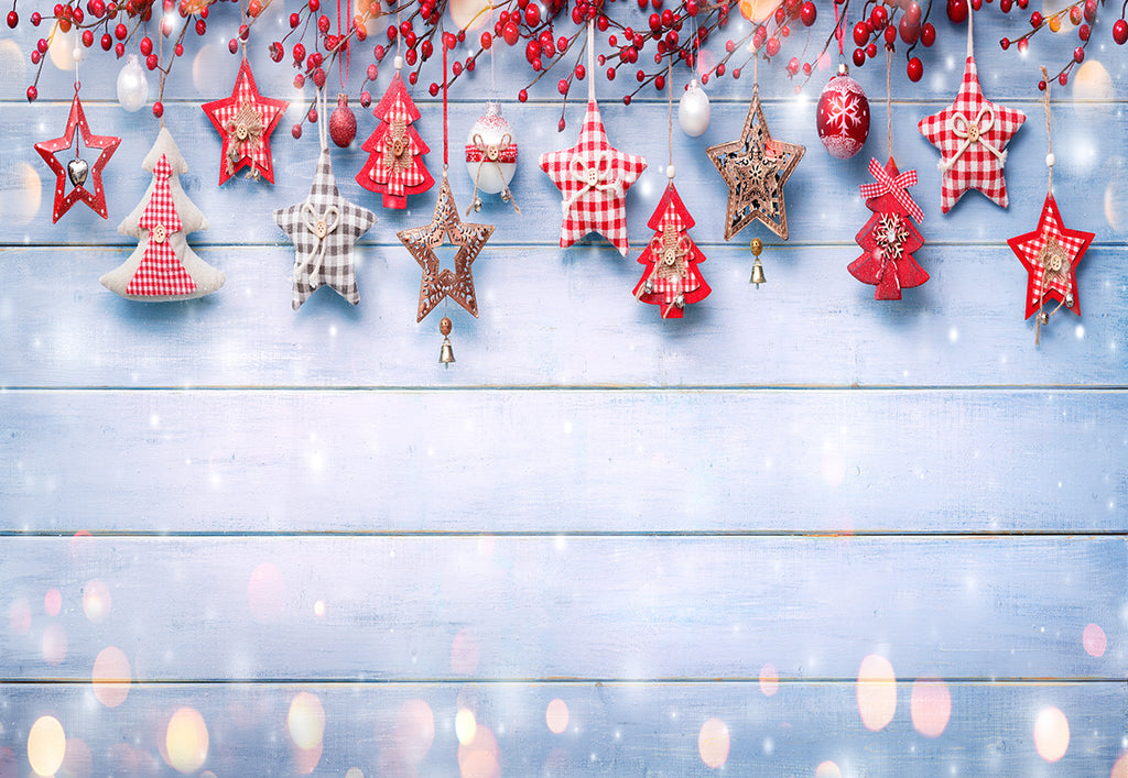 Christmas  Wood Wall Photography Backdrop Star Tree Background