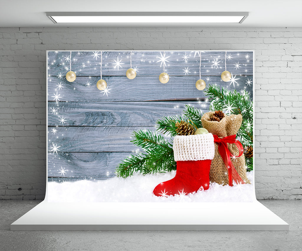 Light Snowflake Wood Wall Photo Backdrop Pine Branch Christmas Boot Background