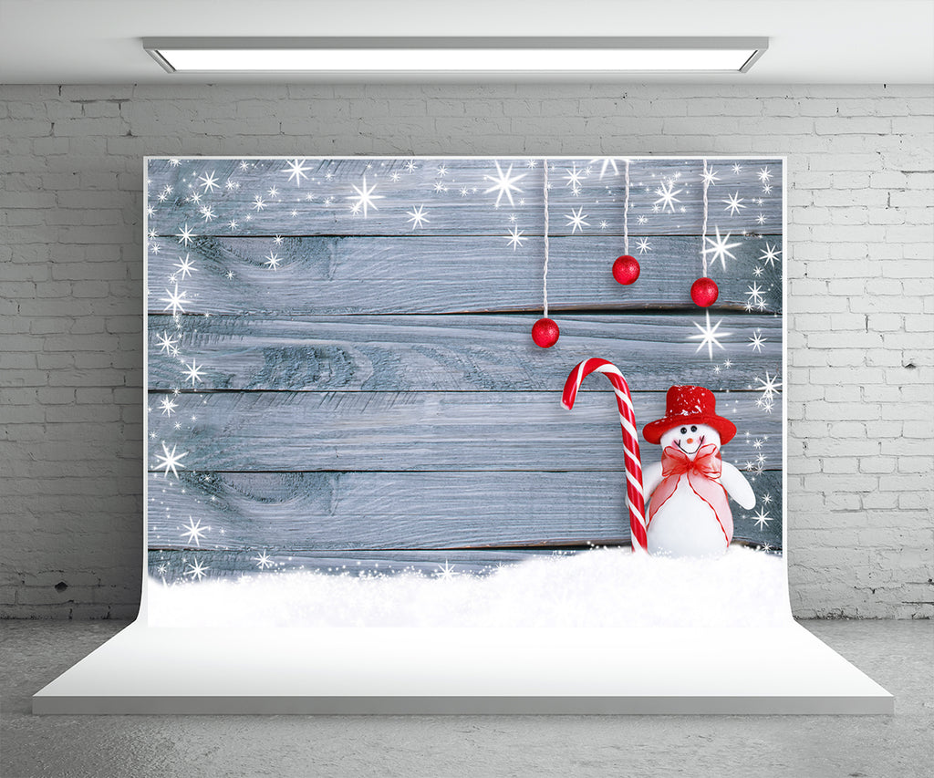Light Snowflake Wood Wall Photo Backdrop Snowman Christmas Background