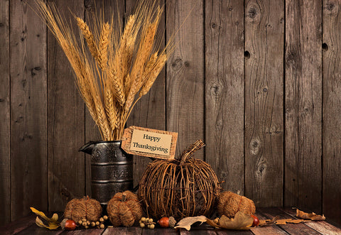 Happy Thanksgiving Day Wooden Wheat Pumpkin Photo Backdrops
