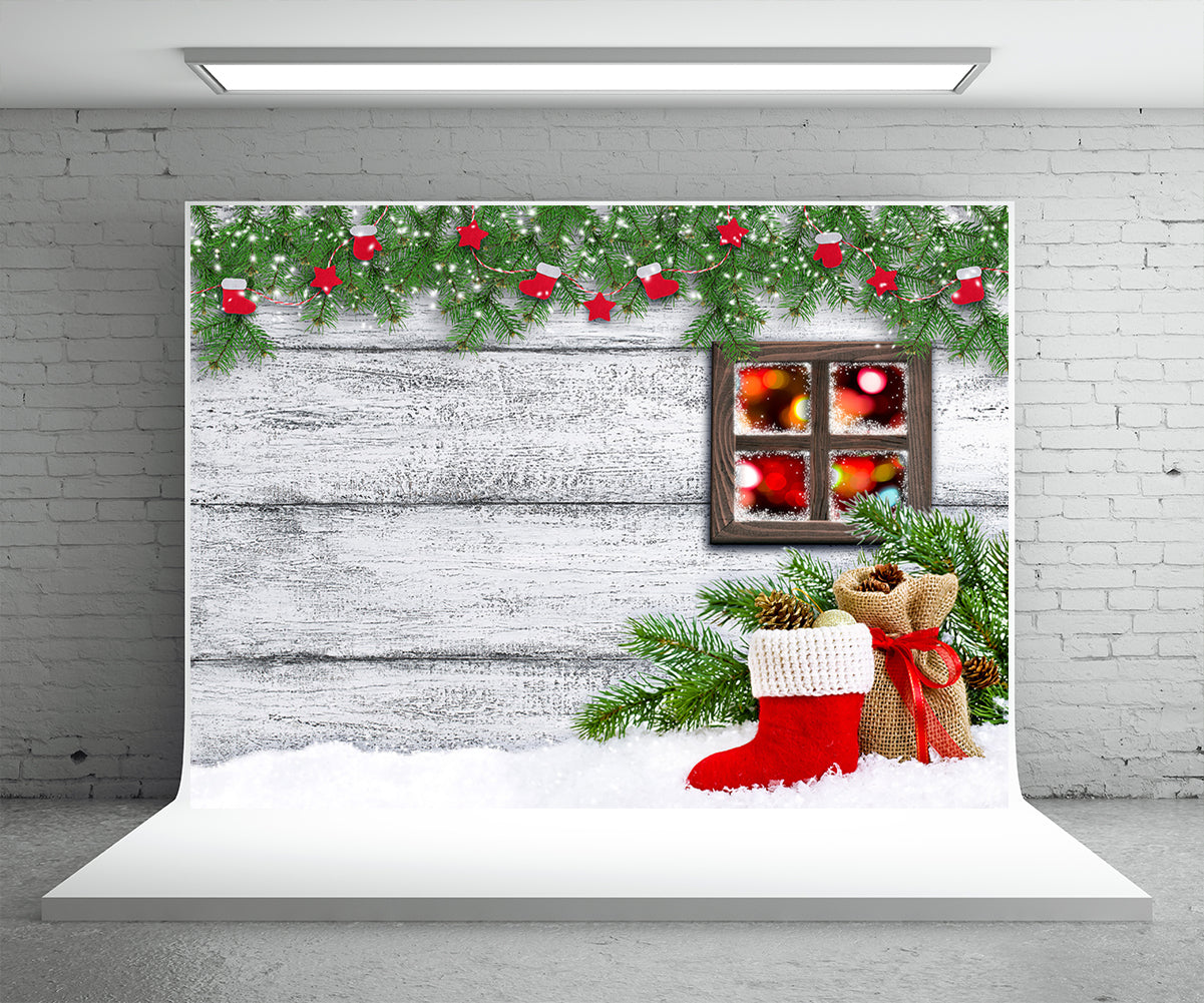 Christmas Photography Backdrop Pine Branch Wood Wall Background