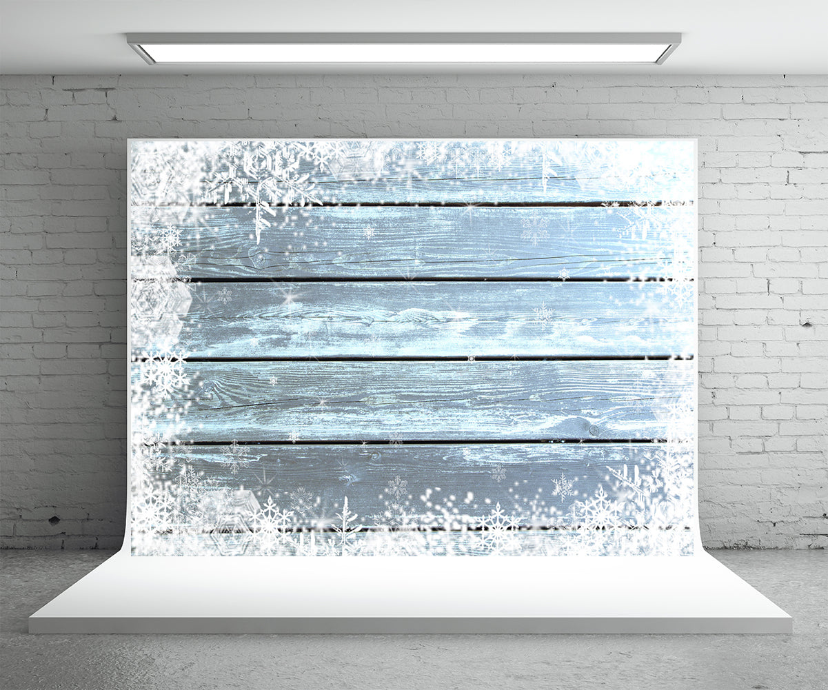 Snowflake wooden wall light blue photo background christmas background