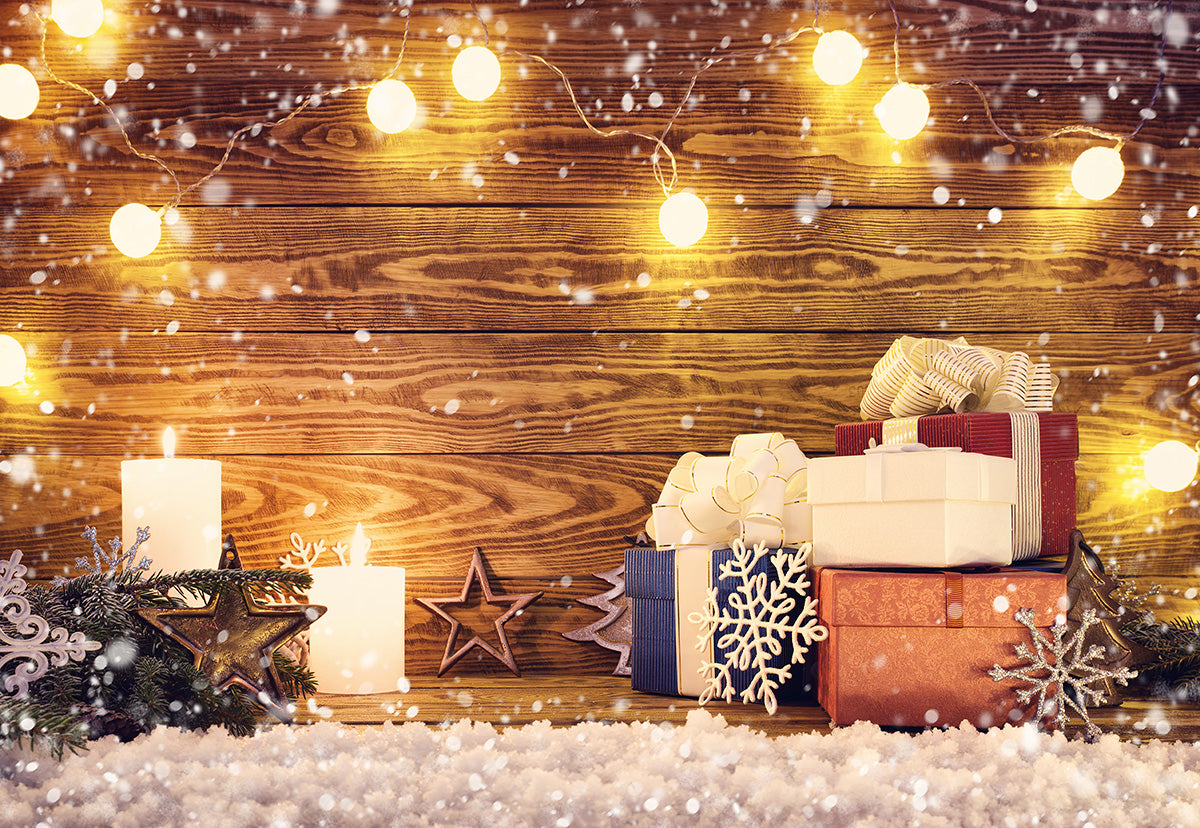 Christmas Light Star Photography Backdrop Snowflake Background