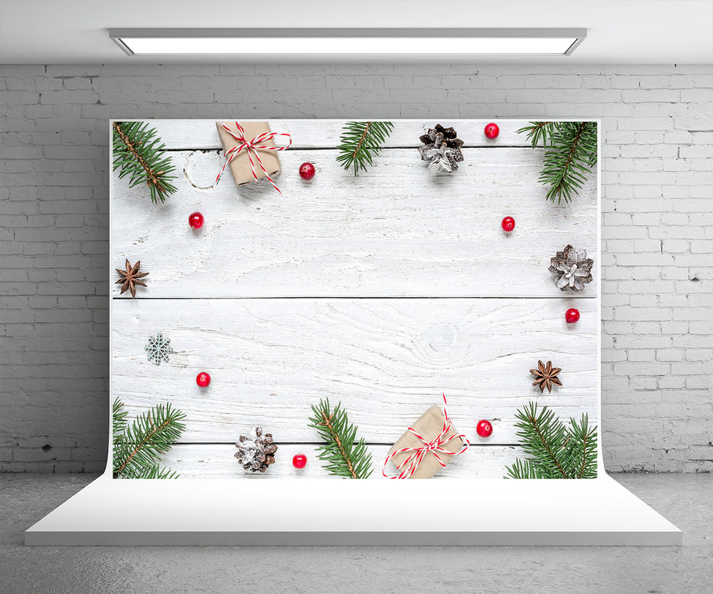 White Wood Wall Photography Backdrop Christmas Background