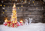 Light Christmas Tree Photography Backdrop Snow Background