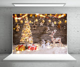 Christmas Tree Gift Photo Backdrop Light Star Background