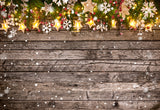 Pine Branch Light Star Wood Wall Photo Backdrop for Christmas