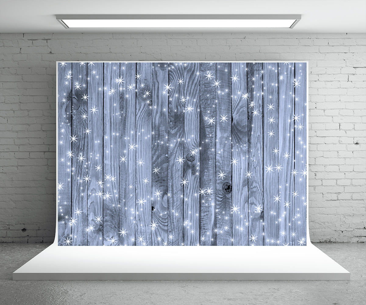 Snowflake Blue Wood Wall Photo Backdrop Christmas Background