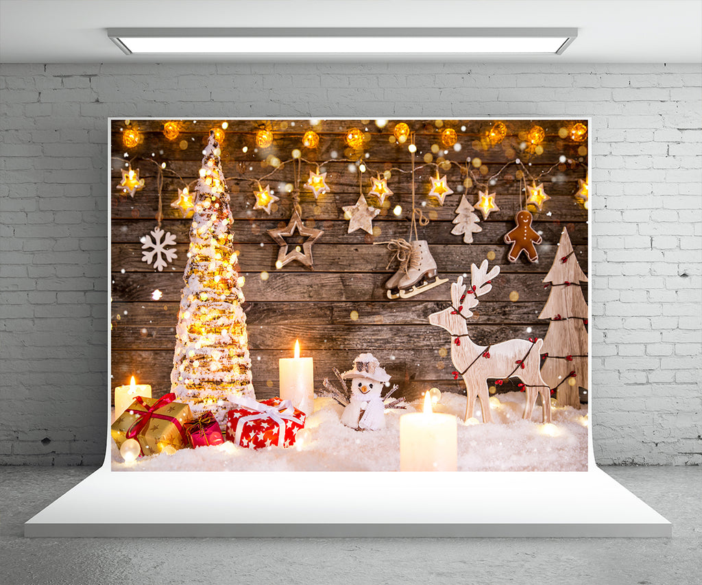 Christmas Phtography Backdrop Snowman Light Star Background