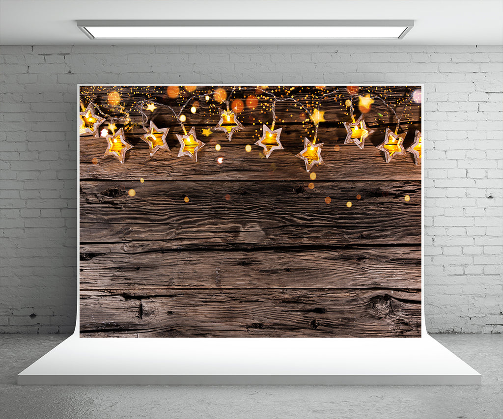 Christmas Light Star Photography Backdrop Wood Wall Background