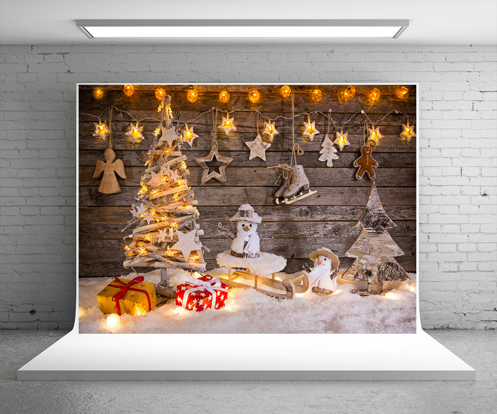 Christmas Photography Backdrop Light Star Wood Wall Background