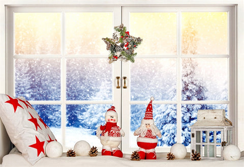 Winter Windows Snow Christmas Backdrops