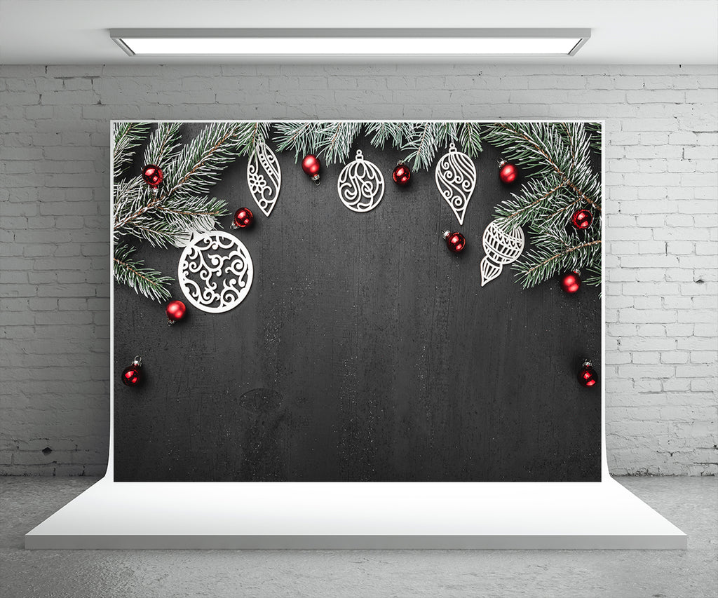 Pine Branch Black Background Photography Backdrop for Christmas