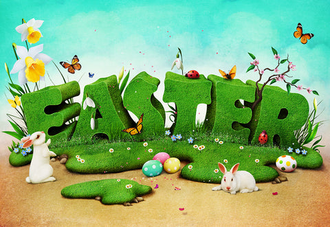 Spring Easter Cartoon Rabbit Photography Backdrops