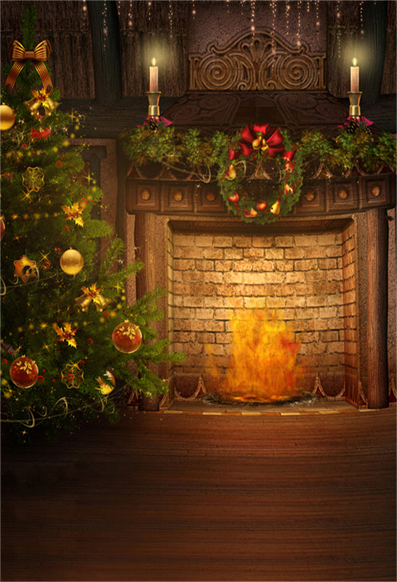 Vintage Christmas Brick Fireplace Photography Backdrop