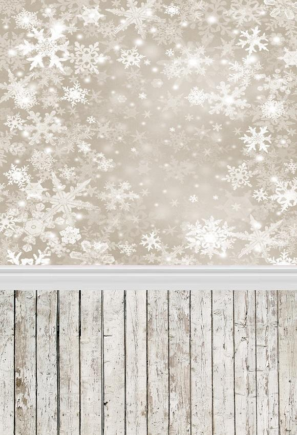Snowflake White Wood Floor Photography Backdrops for Studio