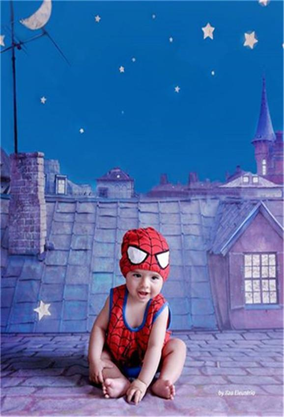 Moon Star of Night City Stone Birthday Backdrop for Kids