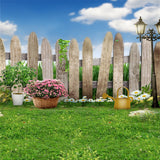Easter Garden Grass Flowers Blue Sky Fence Backdrops