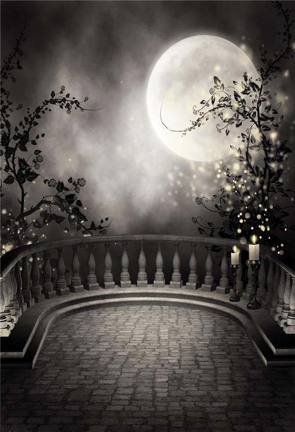 Magic Shiny Bright Moon Black Plant Halloween Backdrop