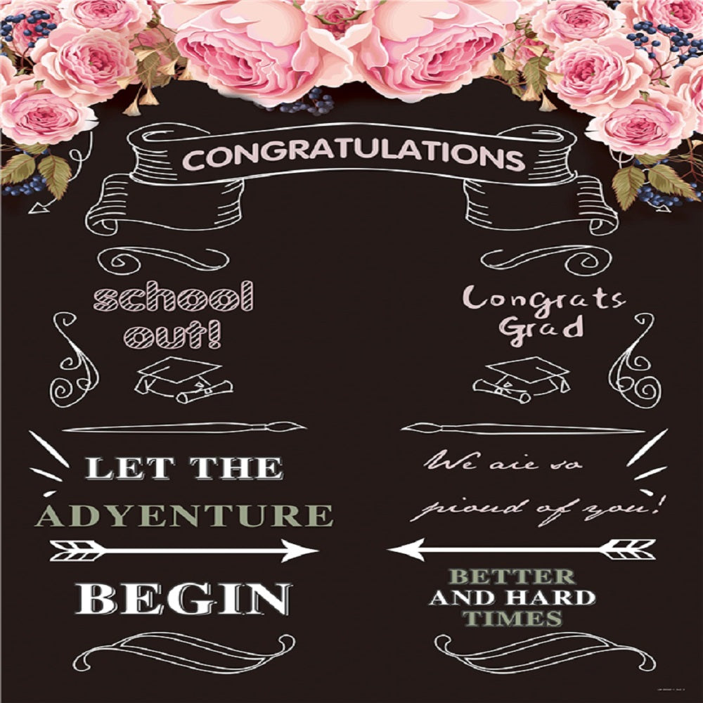 Pink Flower Blackboard Congratulations Graduation Backdrop for Prom