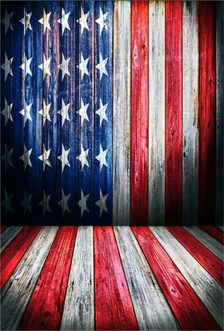 Independence Day Wooden with Flag Backdrop for Studio