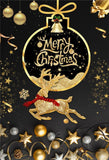 Gold Glitter Merry Christmas Black Backdrop