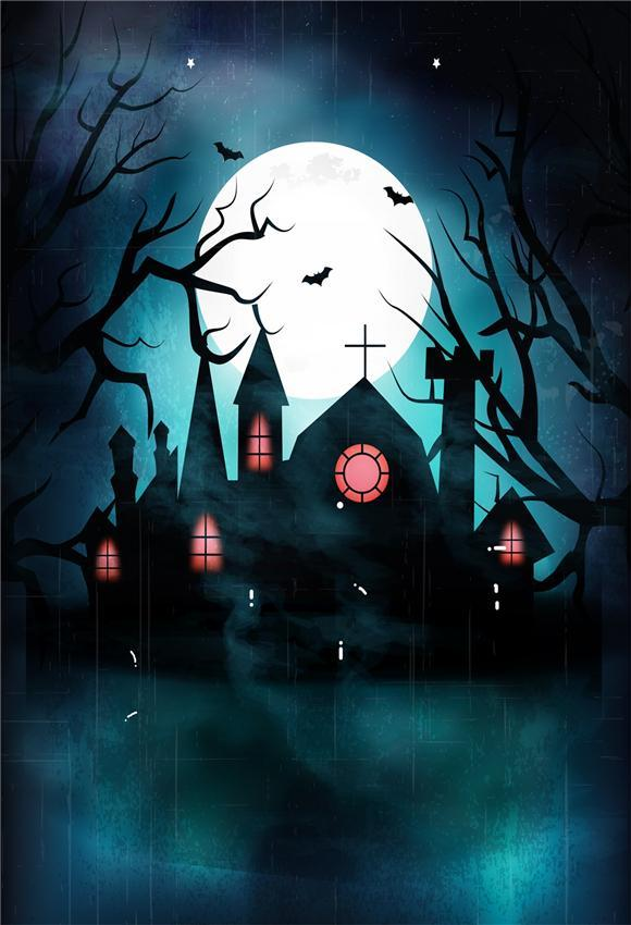 Black Castle Night of Halloween Photography Backdrops