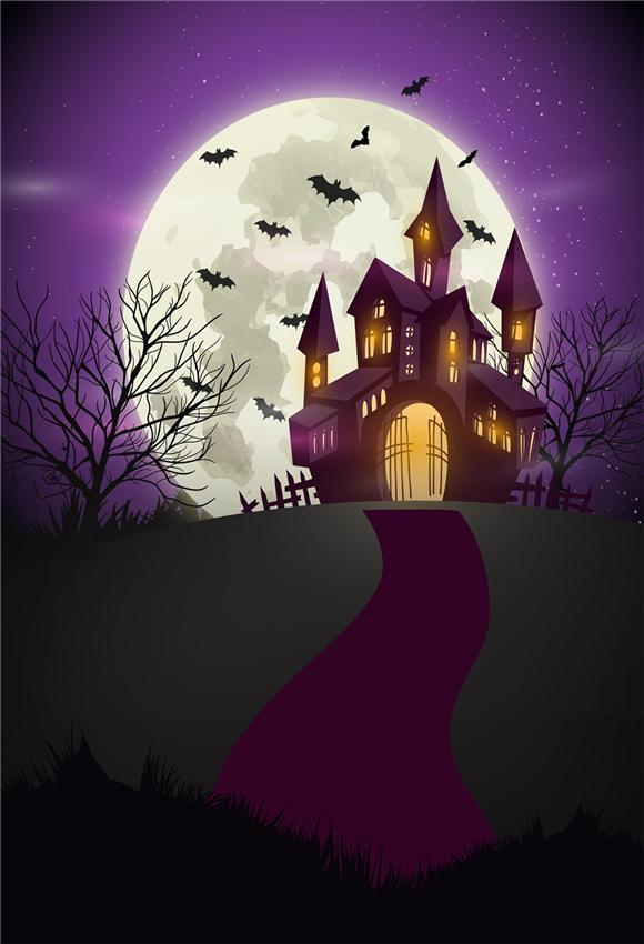 Purple Castle Halloween Backdrop for Photography