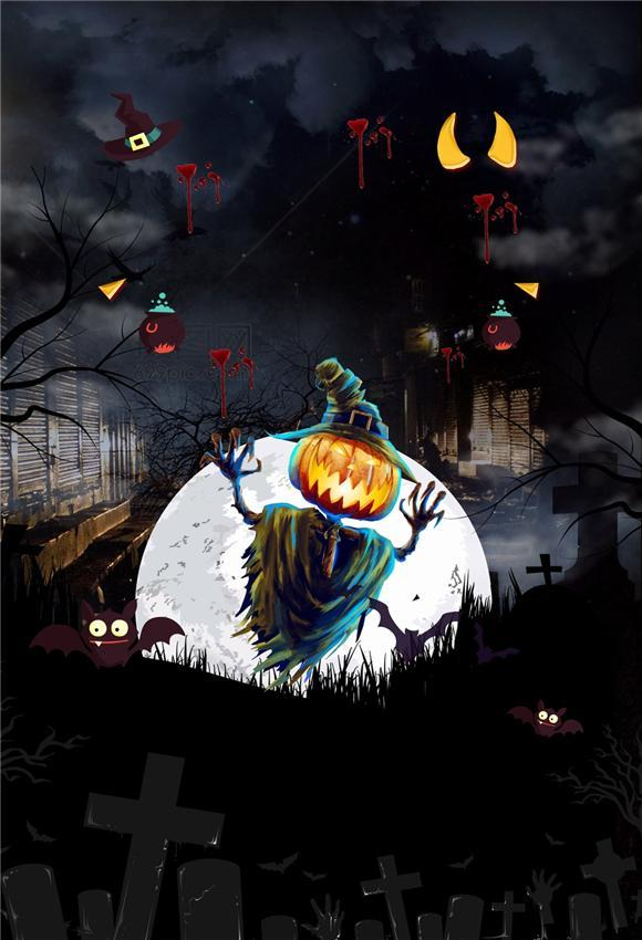 Scary of Night Ghost Halloween Backdrop for Photography