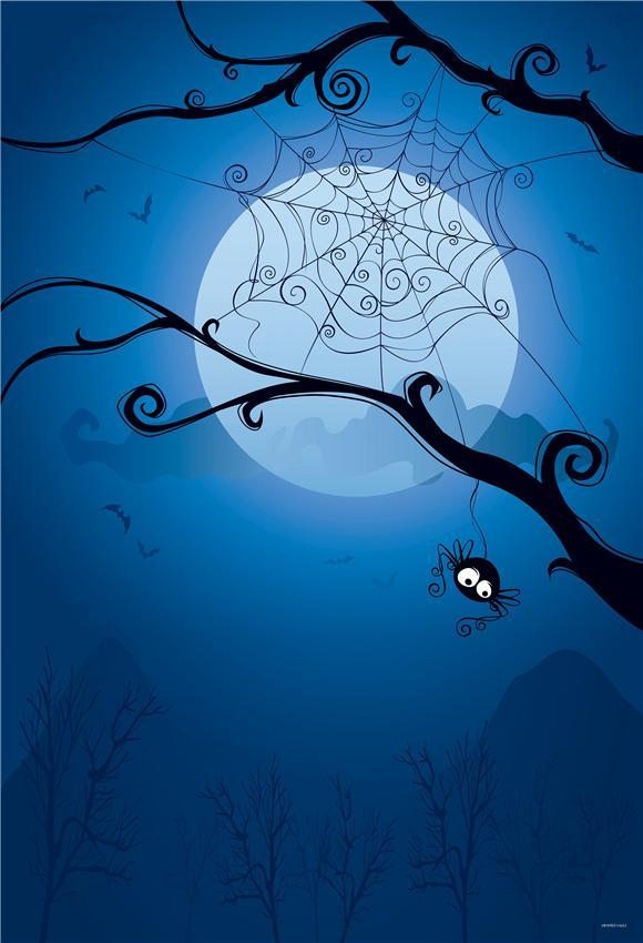 Blue Spider Web Halloween Backdrop for Party