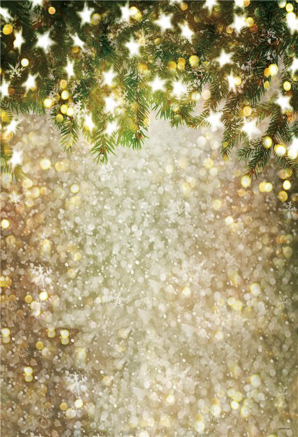 Gold Shiny Christmas Bokeh Stars Photography Backdrops