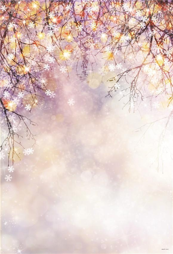 Lavender Shiny Branches Christmas Glitter Photo Booth Prop Backdrops