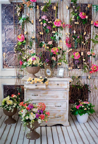 Flowers Window Wood Floor Backdrop for Picture