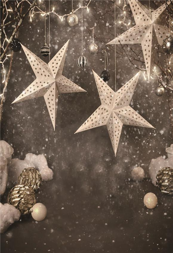 Christmas Backdrop Sliver Star Gold Bell Snowflake Background