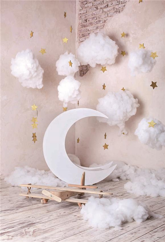 Baby Show White Cloud Wood Floor Backdrop for Picture