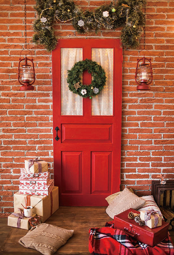 Red Door Christmas Backdrop for Photography Prop