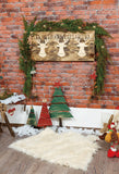 Brick Wall Wood Fllor Christmas Backdrop for Photos