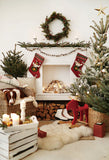 White Fireplace Christmas Photo Booth Prop Backdrop