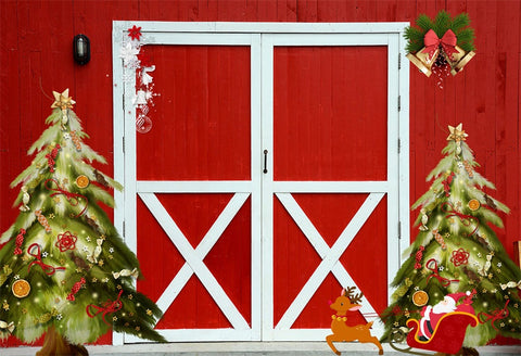 Christmas Bell Red Barn Photography Backdrop for Studio