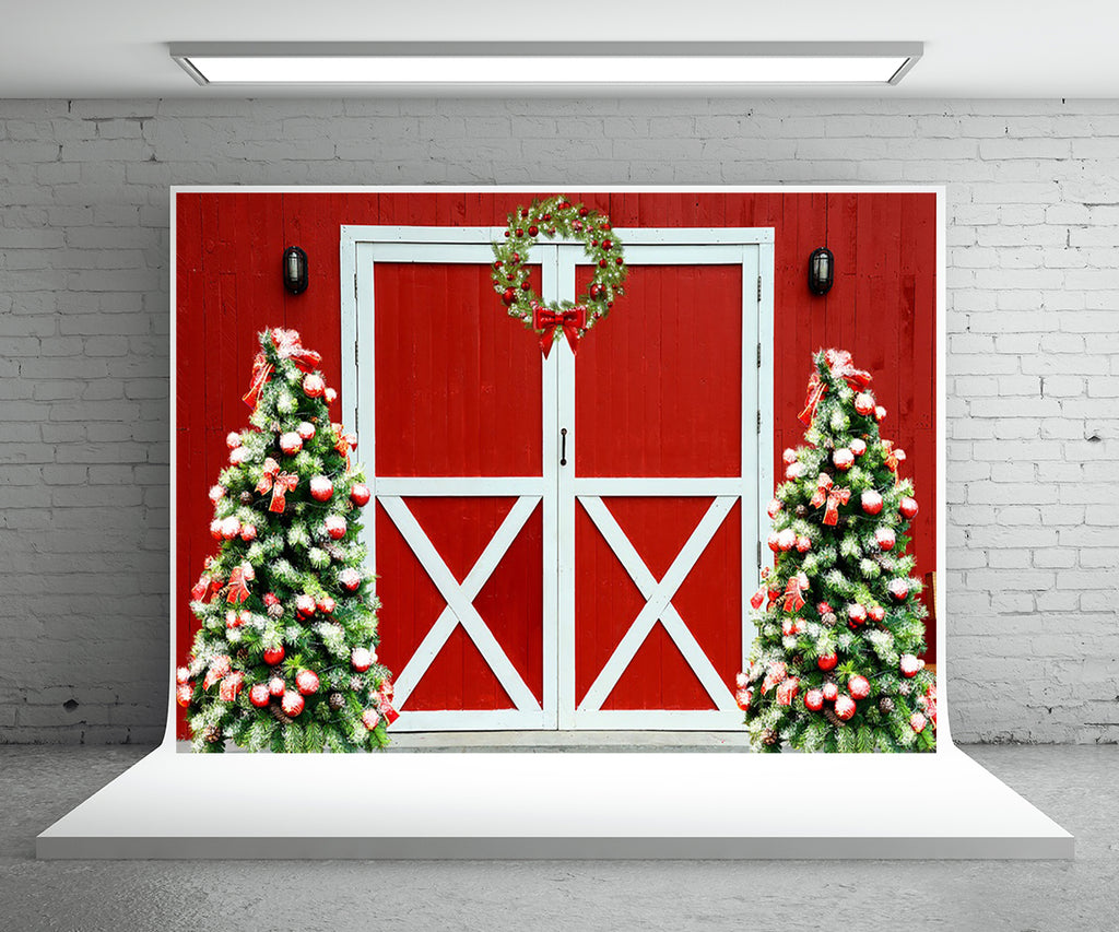 Christmas Wreath Red Barn Backdrop for Photography Prop