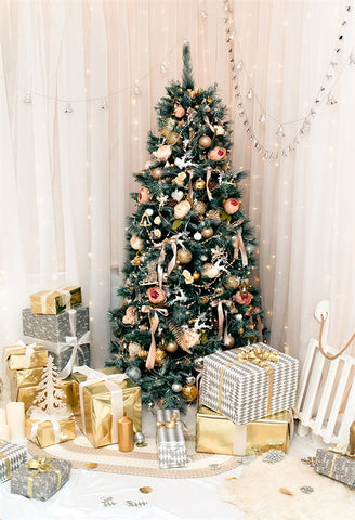 Gold Gift Christmas Tree Glitter Backdrops for Party