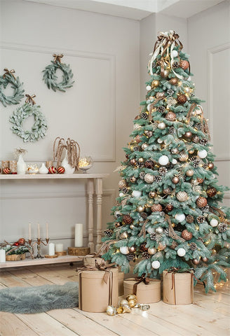 Golden Bell Christmas Tree Wreath Wood Floor Backdrops