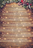 Brown Wood Wall Christmas Backdrop for Photo