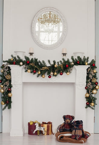 White Christmas Fireplace Bear Photography Backdrops