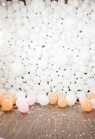 White Balloon Wood Floor Photo Backdrop for Party