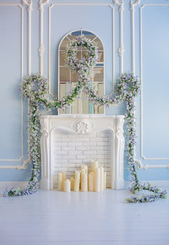 Blue Wall White Fireplace Lavender Flowers Backdrop for Session