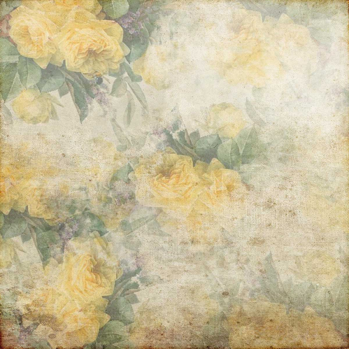 Yellow Rose Flower Vintage Backdrop for Wedding