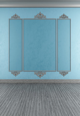 Blue Abstract Wall Grey Wood Floor Backdrop for Wedding