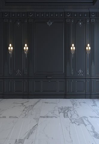 Dark Grey Luxurious Wall Marble Floor Photography Backdrops for Wedding